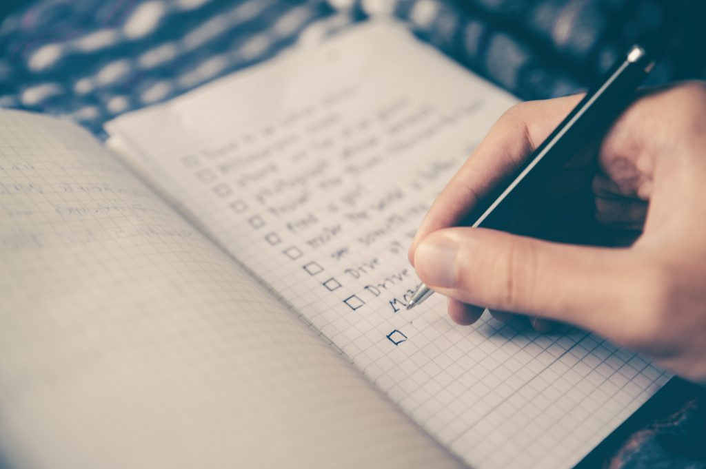 Checking off a to-do list